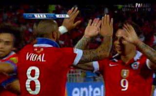 Arturo Vidal abrió el marcador para Chile ante Colombia [VIDEO]