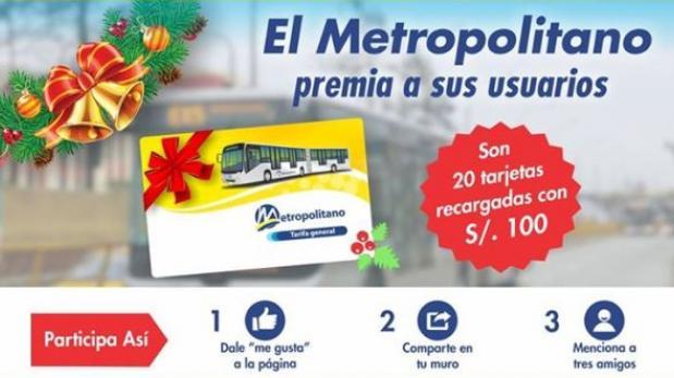 Metropolitano sorteará en Facebook tarjetas de S/.100