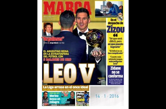 Lionel Messi: las portadas del mundo tras quinto Balón de Oro