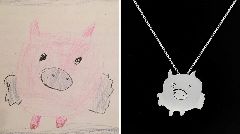 Lleva los dibujos de tus hijos siempre contigo con estas joyas