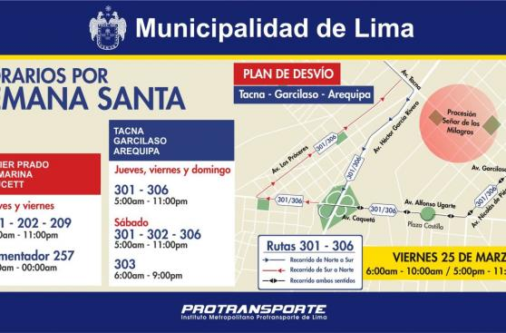 Semana Santa: horarios y desvíos del Metropolitano y corredores