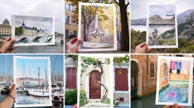 Esta artista reemplaza las fotos de sus viajes por pinturas