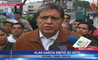 """Alan García: """"Mi obligación es apoyar con todo a quien gane"""""""