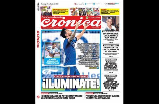 Argentina vs. Chile: portadas de los diarios de ambos países