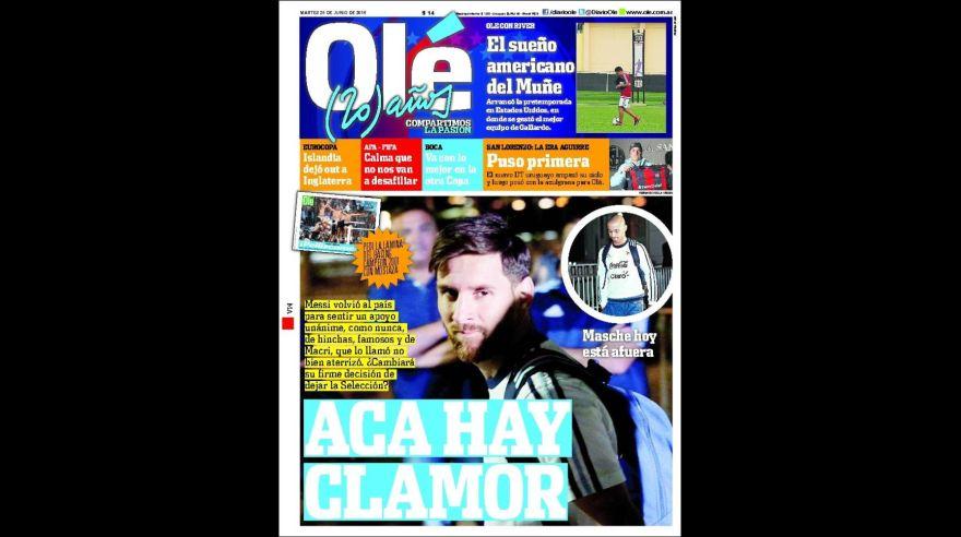 Messi: portadas en Argentina piden que siga en selección