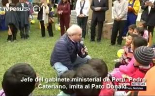 Pedro Cateriano imitó al pato Donald frente a niños [VIDEO]