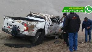 Panamericana Norte: auto terminó volcado tras patinar en pista