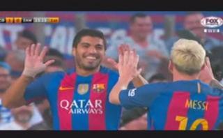 Lionel Messi dio genial pase de espalda y Luis Suárez anotó