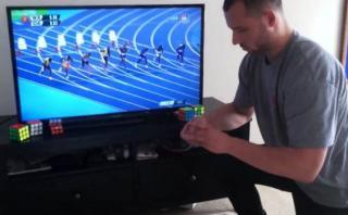 Usain Bolt: joven armó cubo de Rubik antes que gane los 100m