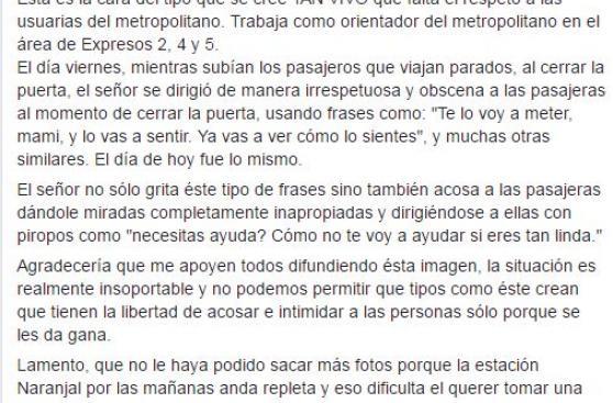 Metropolitano: suspenden a orientador acusado de presunto acoso