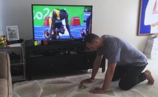 """Un experto en cubos Rubik """"compitió"""" con Usain Bolt [VIDEO]"""