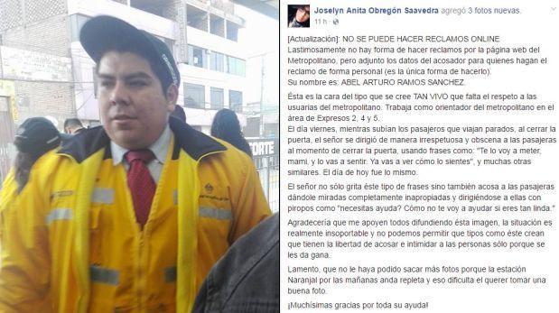 Metropolitano: usuaria rectifica acusación por falta de pruebas