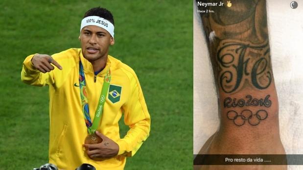 Neymar se tatuó anillos olímpicos y Río 2016 por oro en fútbol