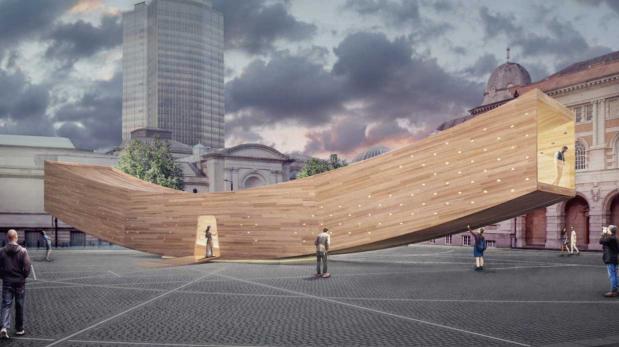 Planean instalar esta gran 'sonrisa' de madera en Londres