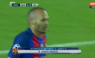 Iniesta marcó golazo para el Barcelona tras centro de Neymar