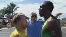 Usain Bolt, Owen Wilson y James Corden se miden en una carrera