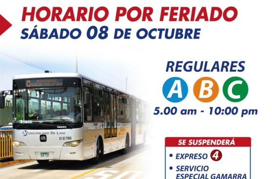 Metropolitano sin Expreso 4 ni servicio a Gamarra por feriado