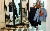 Primera opción: Una falda larga en color negro y un saco con un llamativo y lindo diseño en la espalda. (Foto: Karen Zárate/El Comercio)