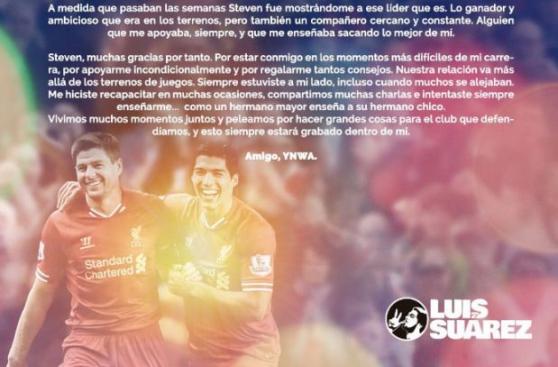 Luis Suárez dedicó emotiva carta a Steven Gerrard por su retiro