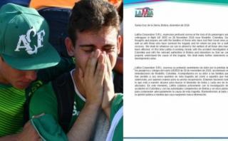 Chapecoense: La carta de la aerolínea a familiares de víctimas