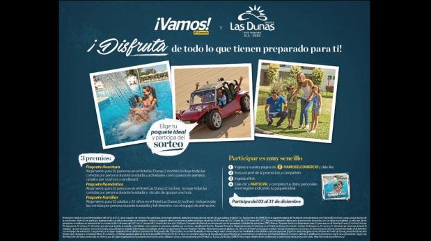 ¡Vamos! y Hotel Las Dunas regalan tres paquetes dobles a Ica