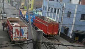 Camiones bloquean pistas de la Av. Parinacochas para estacionar