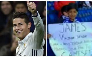 James Rodríguez regaló camiseta a niño peruano en el Bernabéu
