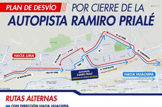 Conoce los desvíos por cierre de la autopista Ramiro Prialé