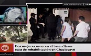 Dos mujeres murieron en incendio en centro de rehabilitación