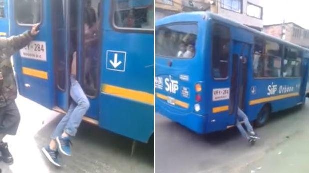 YouTube  ladrón quedó atrapado en la puerta de un bus  VIDEO ... 0ee04c4d9a32c
