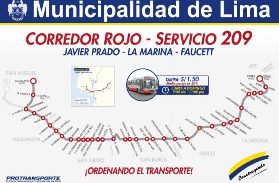 Corredor Javier Prado: ruta 209 ya no llega a Av. Separadora