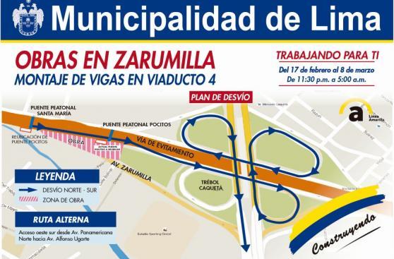 Municipalidad de Lima anuncia cierre parcial de Av. Zarumilla