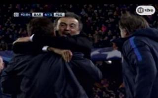 Luis Enrique celebró eufórico el sexto gol del Barcelona