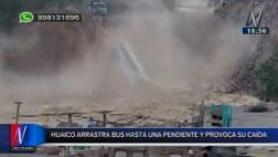 Huaico en Chosica: bus de transporte privado cayó al río