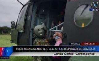 Trujillo: trasladan en helicóptero a niña que urge ser operada