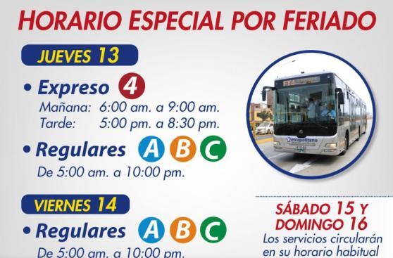 Metropolitano cambiará de horario y rutas por Semana Santa