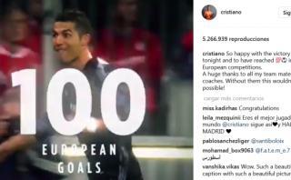Cristiano Ronaldo celebró en Instagram sus 100 goles