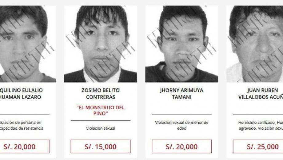 Recompensas: los rostros de los buscados por violación en Lima