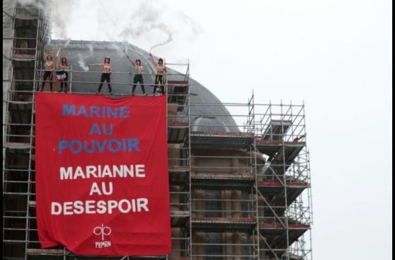 Francia: Protesta feminista contra Le Pen durante los comicios