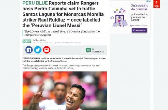 Raúl Ruidíaz es prioridad para el Rangers, señalan en Escocia