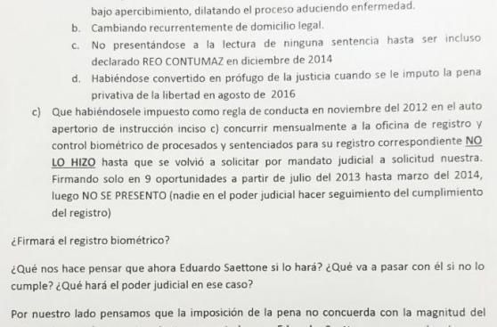 Versión de Edu Saettone vs. la de la familia de la víctima