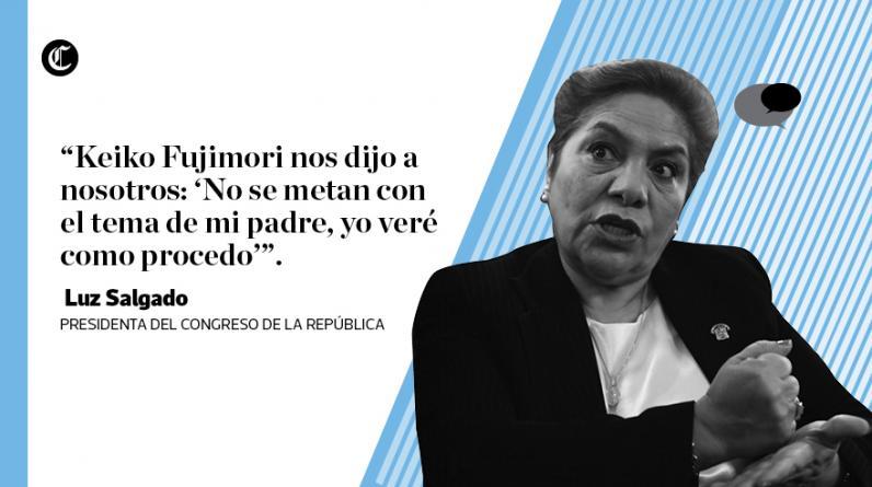 Titular del Legislativo, Luz Salgado, opinó sobre principales temas de coyuntura. Reiteró pedido de indulto para Alberto Fujimori. (Elaboración: El Comercio)