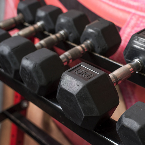 Las mancuernas, ligas y pesas son instrumentos con los que puedes armar una rutina guiada de un entrenador.