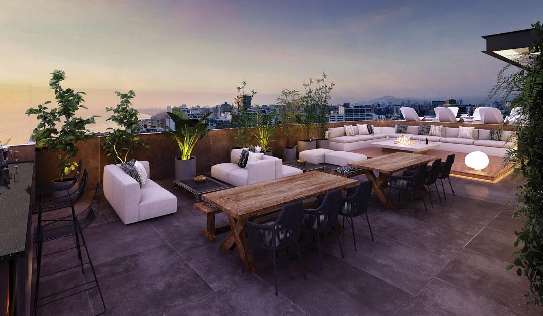 Otro de los espacios comunes es el lounge, donde puedes disfrutar de una vista a la ciudad.