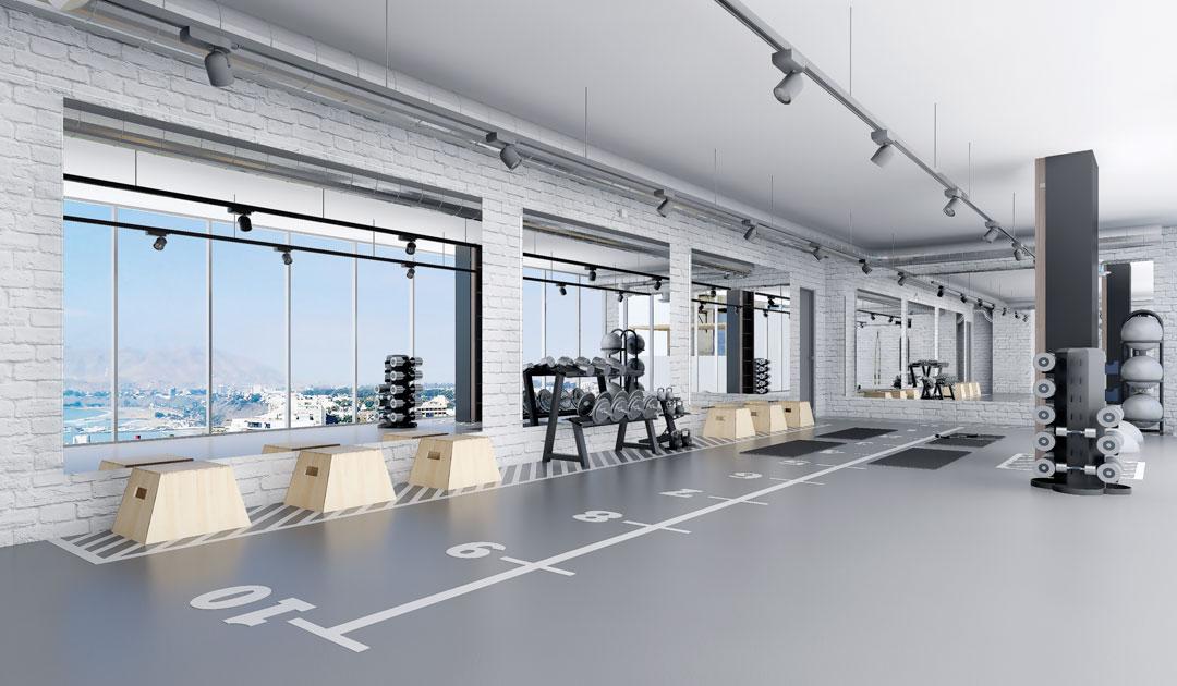 El gimnasio posee una vista al mar, donde puedes realizar diferentes ejercicios de entrenamiento.