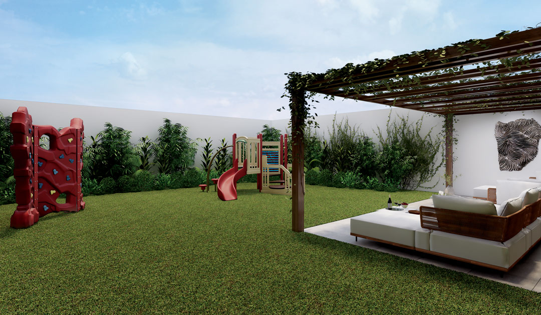 El jardín es uno de los espacios donde niños pueden disfrutar de diferentes juegos.