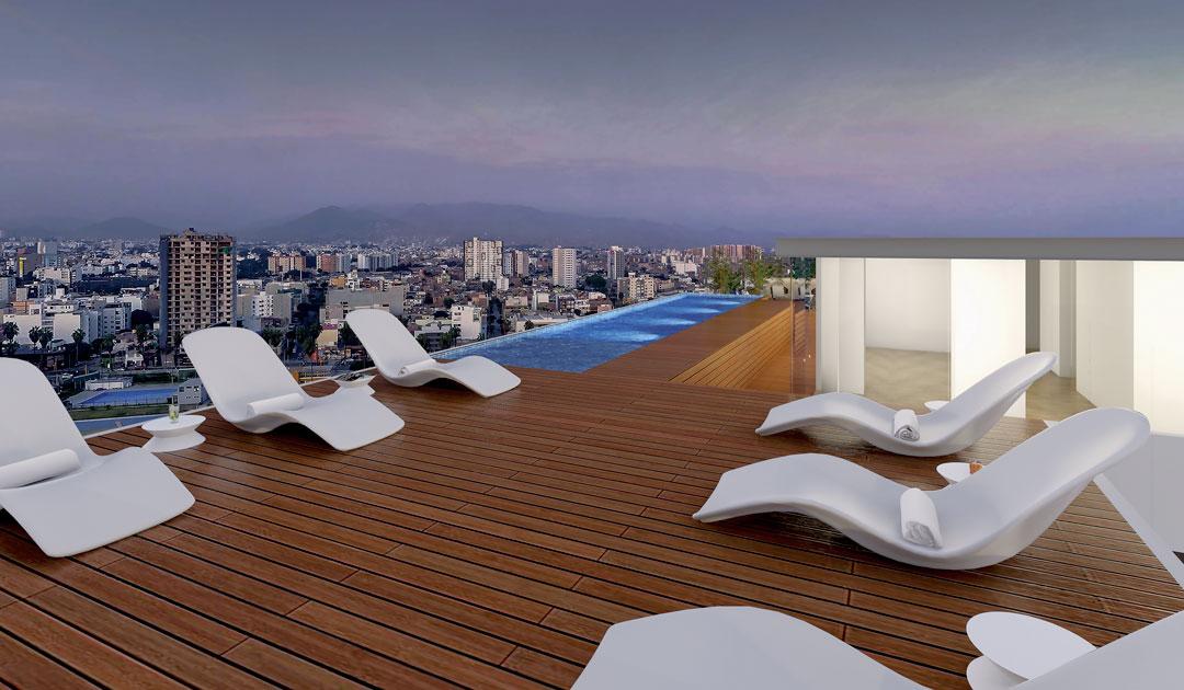 La piscina cuenta con una vista panorámica a la ciudad, además de sillas para reposar.