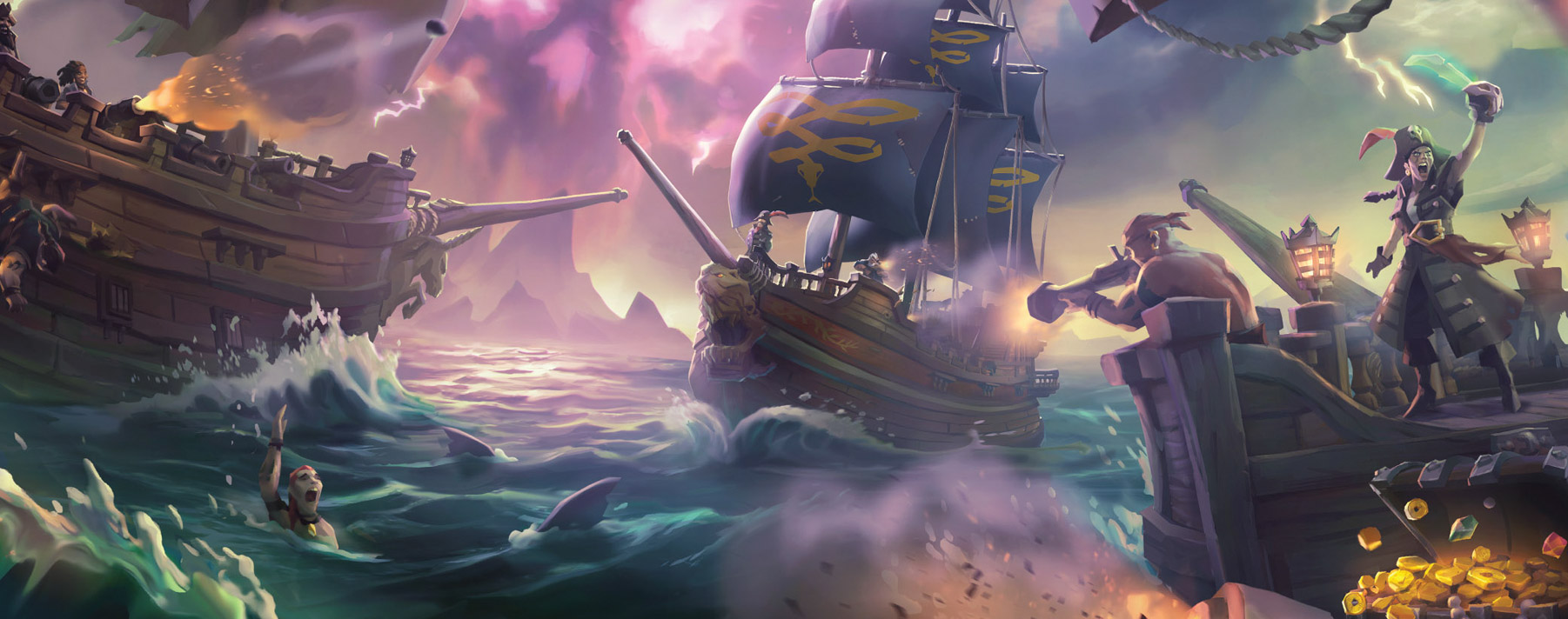 Sea of Thieves. En este juego te convertirás en un verdadero pirata junto con una comunidad en línea que busca lo mismo que tú.